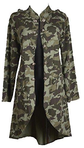 Grisodonna Style Damen Military Camouflage Sommer Jacke Mantel Trench Blazer Umhang 38 40 42 44 46 S M L XL Print Party Urlaub Strand Khaki (46)