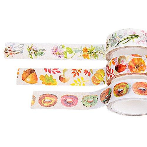 Gespout Washi Tape Bunt Band Zeichentrick Masking Klebeband Masking Tape Aufkleber Klebeband Papier für Buch Schreiben Aufkleber Geschenk und DIY Scrapbooking Dekoration 3Stck,7M