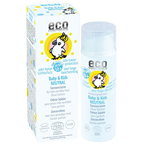 eco cosmetics Baby Sonnencreme LSF50+ neutral, wasserfest, vegan, ohne Mikroplastik, Naturkosmetik für Gesicht und Körper, 1 x 50ml