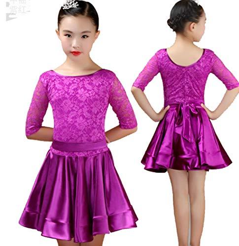 ZYLL Latin Kleid Kinder Latin Tanz Kostüme Mädchen Latin Dance Praxis Kleidung für Kinder Latein-Tanz-Performance-Wettbewerb Kostüme,Lila,160CM