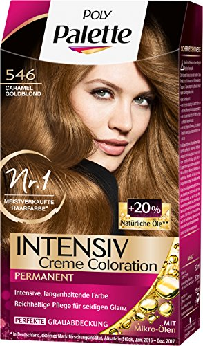 Poly Palette Intensiv Creme Coloration, 546 Caramel Goldblond Stufe 3, 3er Pack (3 x 115 ml)