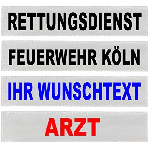PACO Deutschland e.K. Reflexschild Rückenschild silber reflektierend mit Wunschtext 38x8cm, 42x8cm, 30x5cm Wunschtext individuell wie RETTUNGSDIENST FEUERWEHR NOTARZT etc. (13x2,5cm)