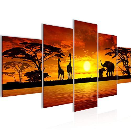 Bilder Afrika Sonnenuntergang Wandbild 200 x 100 cm Vlies - Leinwand Bild XXL Format Wandbilder Wohnzimmer Wohnung Deko Kunstdrucke Orang 5 Teilig - MADE IN GERMANY - Fertig zum Aufhängen 000251a