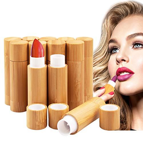 12 Stück Leer Lippenstift Lippenstifthülsen mit Bambusschale, MERYSAN 5ml Nachfüllbar Leer Lippenbalsam Hülsen DIY Lippen Balm Tubes Container Hausgemachte Lippenbalsams