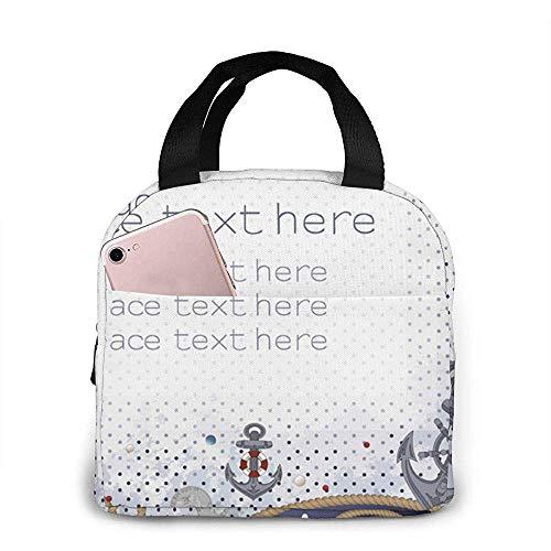 Sea Style Seile, Anker, Münzen, Rettungsringe Original Lunchbox Insulated Lunch Bag - Robuste und geräumige Lunchbox für Erwachsene, um Ihren Tag zu nutzen