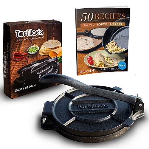 Tortillada - Premium Tortillapresse aus Gusseisen mit Rezepten (25cm) inkl. E-Book mit 50 Tortilla Rezepten