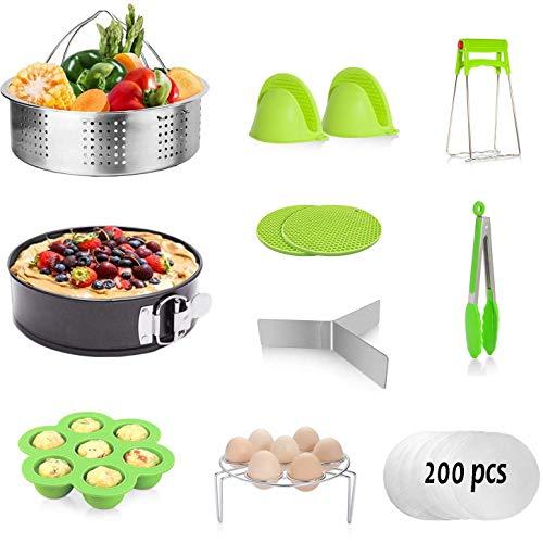 Schnellkochtopf-Zubehör-Set für Sofort-Topf 5, 6,8 l – Dampfkorb, Eierregal, Springformpfanne, Eier-Bissform, Dampfgarer-Einsätze, Silikon-Handschuh (grün)