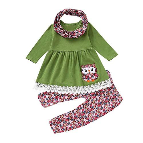 Children Kids Girls Cartoon Embroider Owl Dress+Floral Pants+Scarf Set Outfit