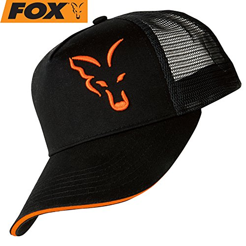 Fox Black/Orange Trucker Cap - Angelcap für Karpfenangler, Cappy für Angler, Anglermütze, Schirmmütze, Anglercap