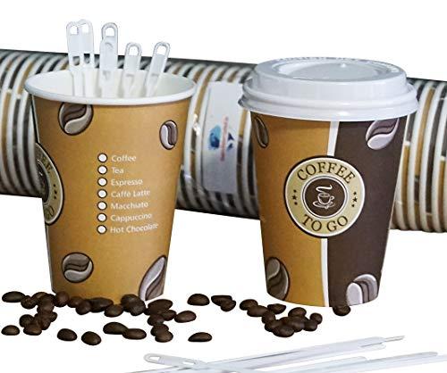 Gastro-Bedarf-Gutheil 100 Cafe to go Kaffeebecher 300 ml PREMIUM mit 100 Deckel Coffee to go Heissgetränkebecher + 100 Rührstäbchen, 14 cm weiss Tee Pappbecher