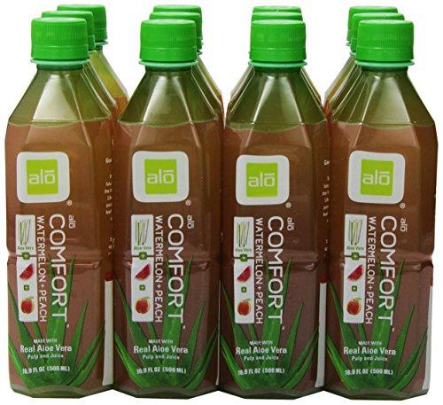 Alo Drink Comfort, Pet-Flaschen, Aloe Vera, Wassermelone und Pfirsich mit Aloe-Stückchen, 12er Pack, EINWEG (12 x 500 ml)