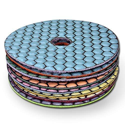 Diamant-Schleifpad Set (9 teilig), Schleifscheibe zum schleifen und polieren von Naturstein, Granit, Marmor, Glas, Klettaufnahme, perfekt für die Phasenbearbeitung, ideal zum entgraten, für neuen Glanz, Ø 100 mm