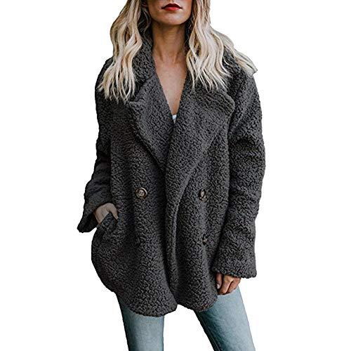 iHENGH Damen Herbst Winter Übergangs Dicker Warm Bequem Slim Parka Mantel Jacke Lässig Stilvoll Outwear Pullover Oberbekleidung Frauen Coat (M,Schwarz)