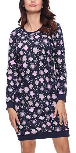 Merry Style Damen Nachthemd MS10-180 (Marine Blumen, XL)