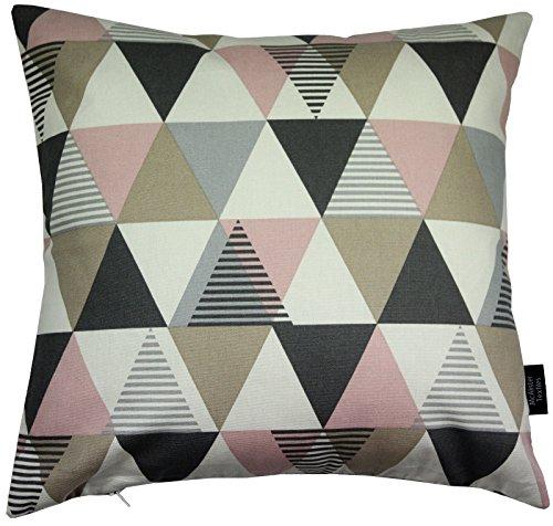 McAlister Textiles Copenhagen Vita | Kissenbezug aus Baumwolle in Rosa | 40 x 40cm | Kissenhülle mit modernem Rauten-Muster | skandinavische Deko für Sofa, Bett, Couch