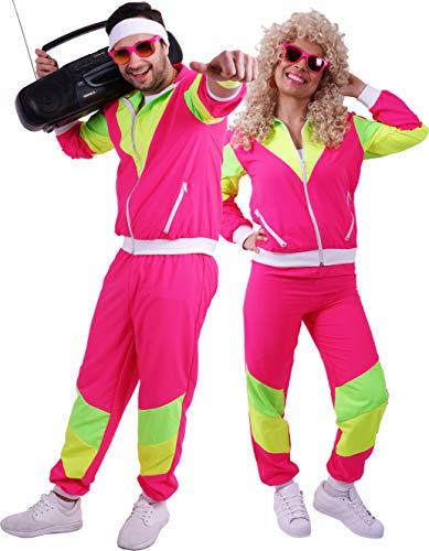 FetteParty - 80-er - 90-er Jahre Erwachsenenkostüm   Deluxe Trainingsanzug   Jacke und Hose , Mehrfarbig Neon Gelb Grün Pink, Mottopartys, Schlagermove, Karneval,Fasching, JGA (XL, Neon Pink)