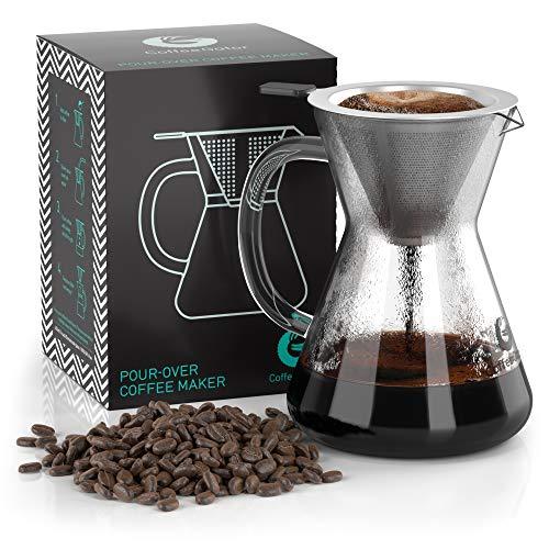 Coffee Gator Pour Over Kaffeebrüher – Mehr Geschmack mit einem papierlosen Edelstahlfilter und einer Glaskaraffe – Manueller Drip Kaffeebereiter – 400 ml