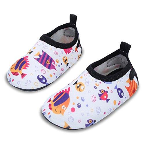 JIASUQI Barfuß Wasserhaut Schuhe Strand Sandalen für Kleinkind Säugling für Strand Pool Schwimmen, Weißer Fisch 6-12 Monate