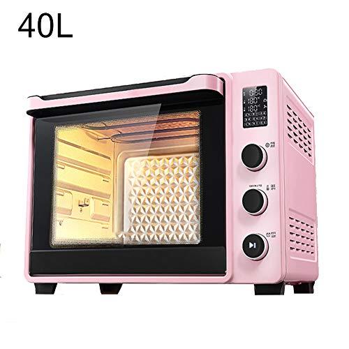 BTSSA 40 Liter Mini-Backofen mit Krümelblech | Innenbeleuchtung | Drehspieß | Umluft-Funktion | Platz für 2 Pizzen auf einem Gitterrost | Doppelglastür, Mini-Pizza-Ofen
