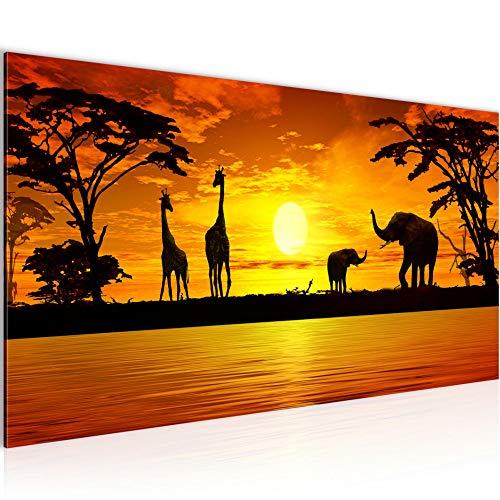 Wandbilder Afrika Sonnenuntergang Modern Vlies Leinwand Wohnzimmer Flur Giraffe Elefant Orange 000212a