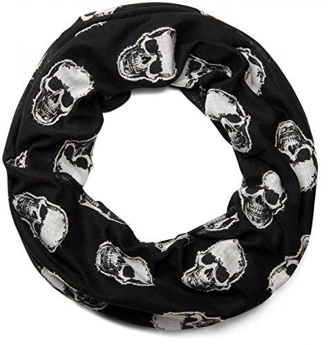 styleBREAKER Loop Schlauchschal mit aufgesetztem Totenkopf Muster, Unisex 01018081, Farbe:Schwarz