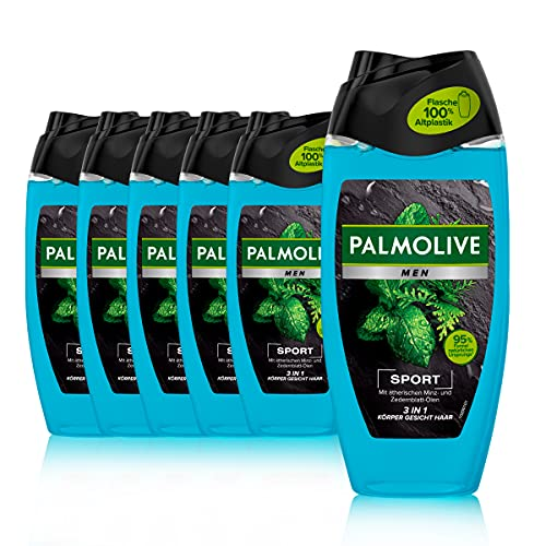 Palmolive Men Duschgel Revitalising Sport 6 x 250ml - 3in1 für Körper, Gesicht & Haar - mit ätherischen Minz- & Zedernblatt-Ölen