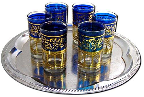 6x Teegläser Marokko orientalische Teegläser blau-gold