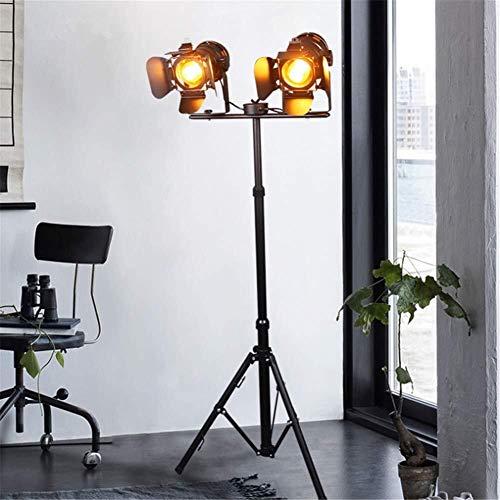 Xiao Stehleuchte Industrielle Retro Steampunk Scheinwerfer Höhenverstellbar Drehbare Schatten E27 Doppelkopf Schwarz Backfarbe Schmiedeeisen Stativ Stehlampe