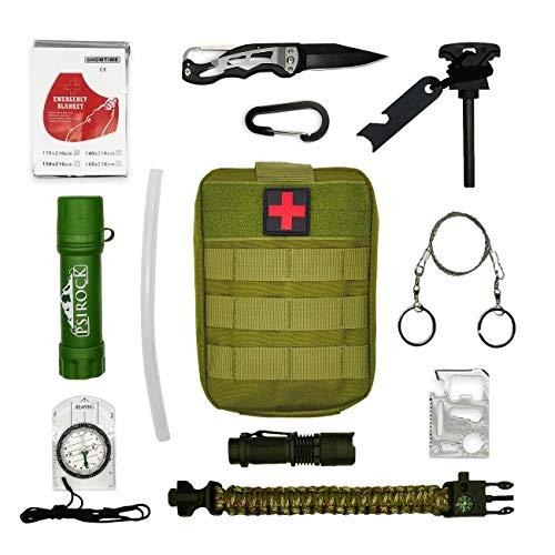 Survival kit Set | Bushcraft Tools Magnesium feuerstahl Survival Messer Wasserfilter Outdoor Rettungsdecke Paracord Armband kompass Outdoor ausrüstung Survival Ausrüstung überlebensausrüstung
