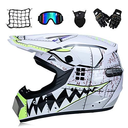 MRDEAR Weißer Hai - Motocross Helm mit Brille Handschuhe Maske Motorrad Netz, Motorrad Crosshelm Kinder Off Road Helm Motorradhelm Schutzhelm Kit für ATV Downhill MTB Sicherheit Schutz,M