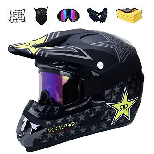 Motocross Helm Set mit Brille Handschuhe Maske Korallenvlies Handtuch Motorrad Netz, Jugend Sturzhelm Schutzhelm, Adult Downhill Helme Endurohelme Kinder Quad Bike ATV Go-Kart-Helm (B,XL)