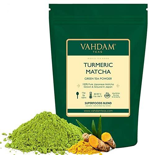 KURKUMA + MATCHA Grüner Teepulver - LEISTUNGSFÄHIGE SUPERFOODS (100 g, 50 Tassen), 100% reines, ungemischtes japanisches Matcha-Pulver, 137 x ANTI-OXIDANTS   Steigert Energie, Fokus und Stoffwechsel