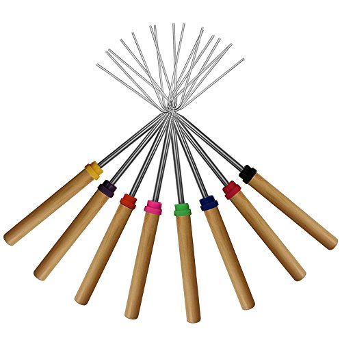 Marshmallow Roasting Sticks, KEKU Set von 8 Telescoping Rotating Smores Spieße & Hot Dog Gabel Kinder Camping Campfire Fire Pit Zubehör