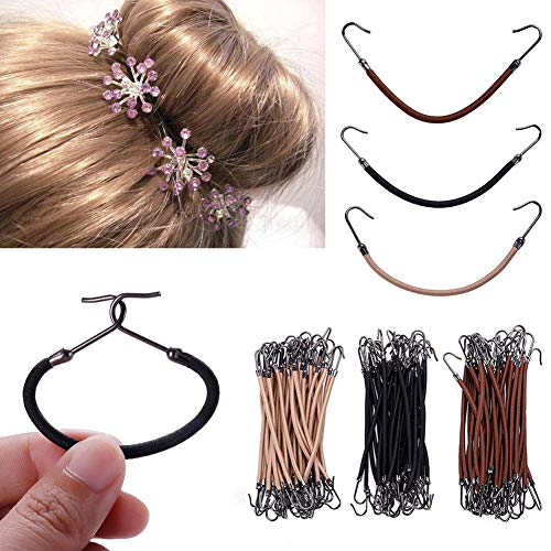 Rungao 30Stück Elastische Haarbänder Haargummis Frauen Mädchen mit Haken Pferdeschwanz Clip Gummi Zöpfe 3 Farben Haarschmuck