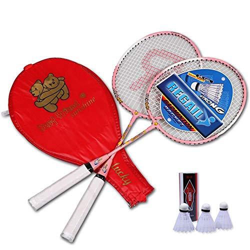 globalqi Kinder Badminton-Set, 2 Verkannt Schläger 57cm, 3 Federbälle, In Wertiger Tasche