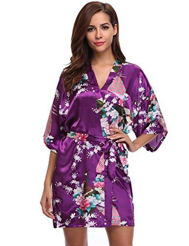 Aibrou Damen Morgenmantel Satin Nachtwäsche Bademantel Kimono Negligee Seidenrobe Schlafanzug Kurz Mit Peacock und Blumen Violett S