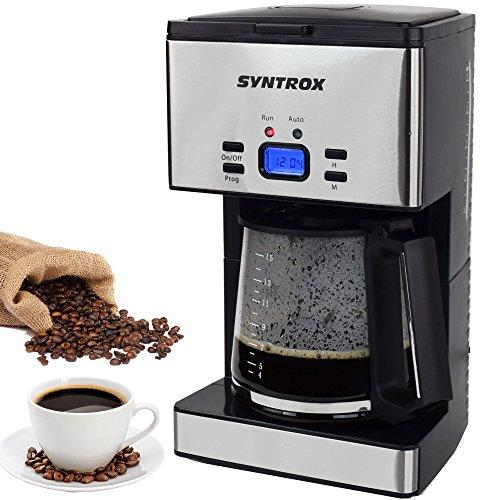 Syntrox Germany KM-1000W Inox Edelstahl Kaffeemaschine Kaffeeautomat Timer