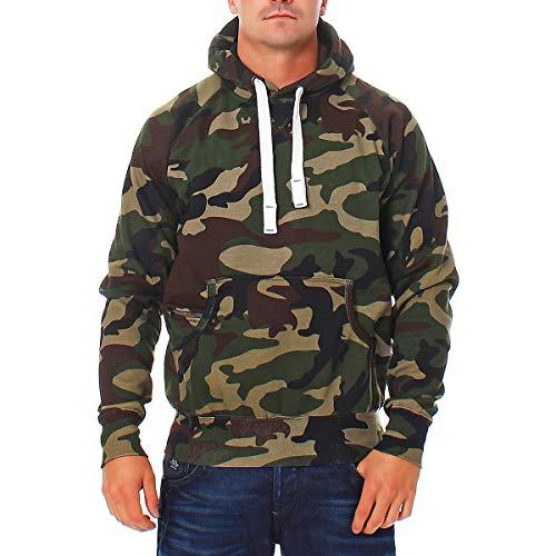 Happy Clothing Herren Pullover Camouflage Hoodie Grün Kapuzenpullover Pulli mit Kapuze, Farbe:Grün, Größe:3XL