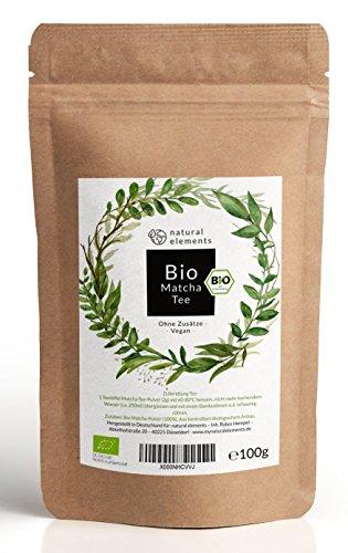 Bio Matcha-Tee Pulver 100g - Laborgeprüfter Bio-Matcha (DE-ÖKO-001) - Ohne Zusätze, rein natürlich & im wiederverschließbaren Beutel - Perfekt für Tee, Matcha-Latte & zum Backen