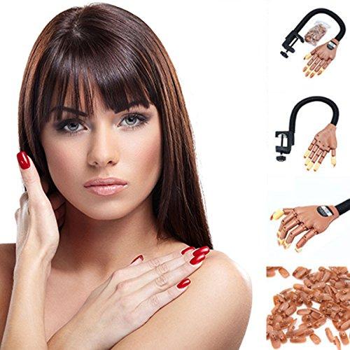verstellbar die Hand Größe Nail Art Training Praxis Learning Modell Trainer Make-up Werkzeug Fake Finger 100PCS Nail Tipps