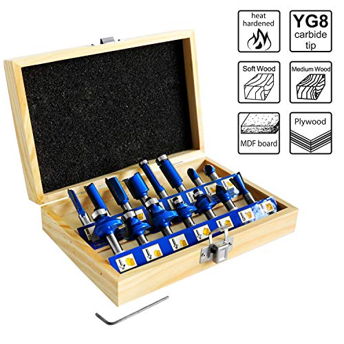 S&R Fräser-Set HM, Schaft 8mm, Holzkoffer, geschmiedeter Werkzeugstahl, Schneidplatten aus HM in Holzbox (Set 15-tgl.)