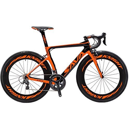 SAVADECK Phantom3.0 Carbon Rennrad 700C Kohlefaser Rennräder Fahrrad mit Shimano Ultegra 8000 22 Speed Schaltgruppe Continental Ultra Sport II 25C Reifen und Fizik Sattel (Orange-(88mm Räder), 50cm)