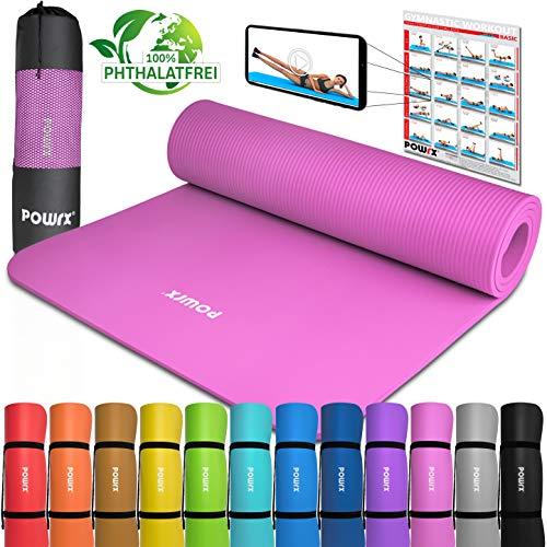 POWRX Gymnastikmatte Yogamatte inkl. Übungsposter I Trainingsmatte Phthalatfrei 183 x 60 x 1 cm I Matte hautfreundlich I versch. Farben (Pink)