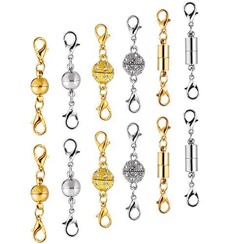 VABNEER 12 Stück Magnet Karabinerverschluss Magnetische Schmuckverschlüss kettenverschluss mit Kette für Armband Halskette Making (Gold und Silber)