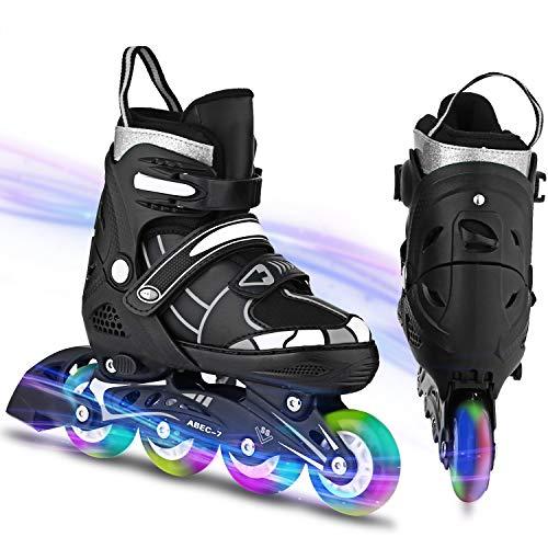 WeSkate Inline Skates Kinder verstellbar mädchen/Jungen Inline Skates Blinkende Beleuchtung Räder Rollschuhe PU Verschleißfeste Outdoor Inline Skates Herren/Damen