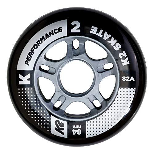 K2 I1704017010 Inline Skates Rollenset Performance Wheel Ersatzrollen - Schwarz - 4 Rollen, 84 mm
