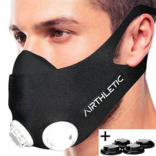AIRTHLETIC® AtemmaskeTraining Mask mit 12 Ventilkappen [6 schwarz & 6 weiß] und Kopfriemen für extra Halt - Deutsche Marke