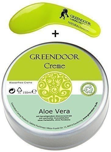 Vegane Greendoor Creme Aloe Vera wasserfrei 150ml, Avocado-Creme ohne Parabene, natürlich ohne Tierversuche, mit Kosmetikspatel, Naturkosmetik, Natur Hautcreme, Ostern Geschenke