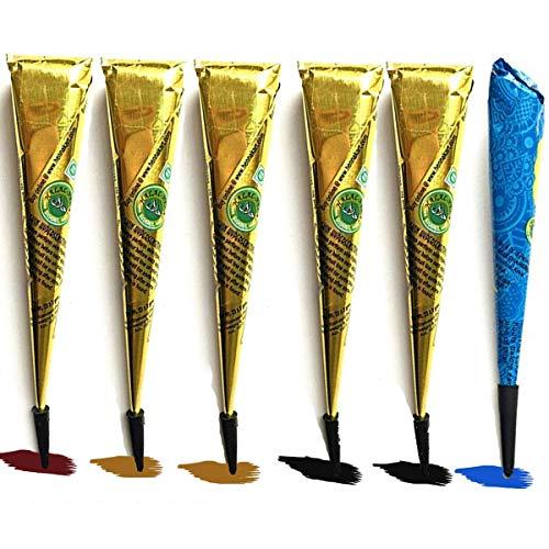 Janolia Satz von Tätowierung, Sicher Wasserdicht Tätowierung malen mit 6 Stück 4 farbe Einfügen Kegel, 23 Stück Klebe-Schablone, 1 Flasche(Schwarz, Braun, Rot, Blau)