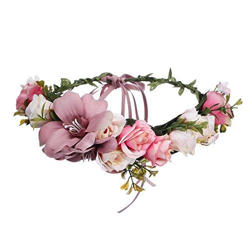 AWAYTR Blumen Stirnband Hochzeit Haarkranz Krone - Frauen Mädchen Blumenkranz Haare für Hochzeit Party(Bleich Malvenfarben)
